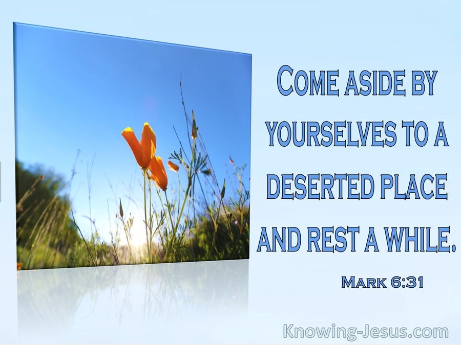 Mark 6:31 Come Aside To A Deserted Place And Rest Awhile (aqua)