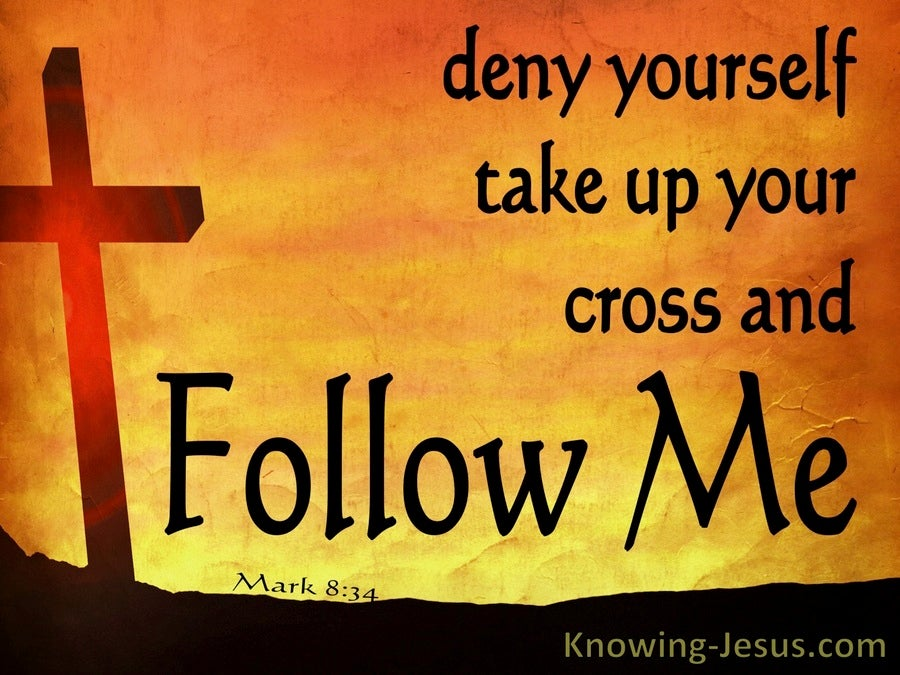 Mark 8:34 Take Up Your Cross And Follow Me (orange)