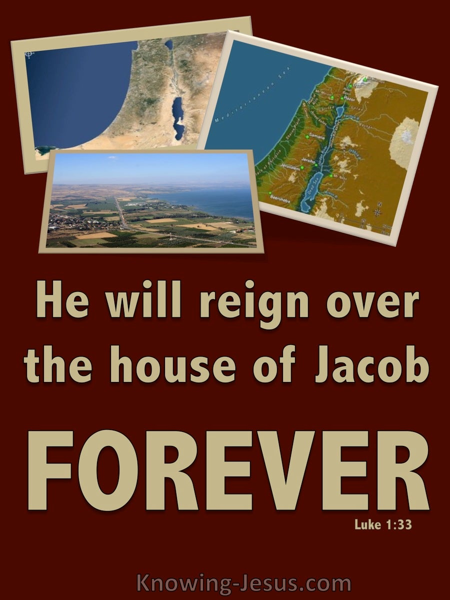 Luke 1:33 He Will Reign Over The House Of Jacob Forever (red)