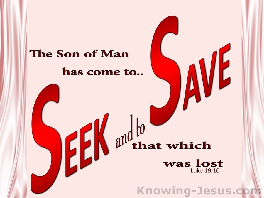 Luke 19:10 The Son Came To Seek And Save The Lost (pink)