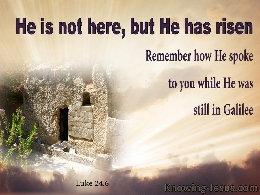 Luke 24:6 He Is Not Here  He Has Risen (brown)