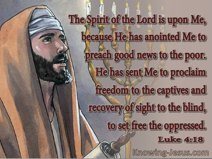 Luke 4:18 The Spirit Of The Lord Is On Me (brown)