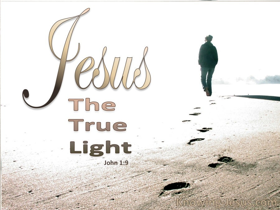 John 1:9 Jesus The True Light (beige)