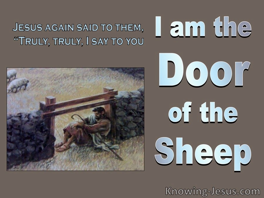 John 10:7 Jesus Said I Am The Door Of The Sheep (blue)