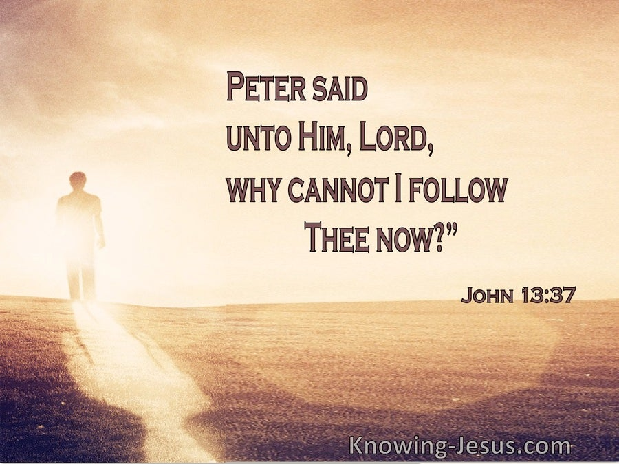 John 13:37 Peter Said Unto Him, Lord, Why Cannot I Follow Thee Now (brown)