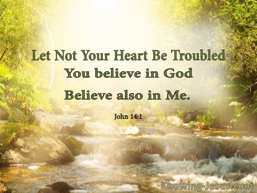 John 14:1 Let Not Your Heart Be Troubled (green)