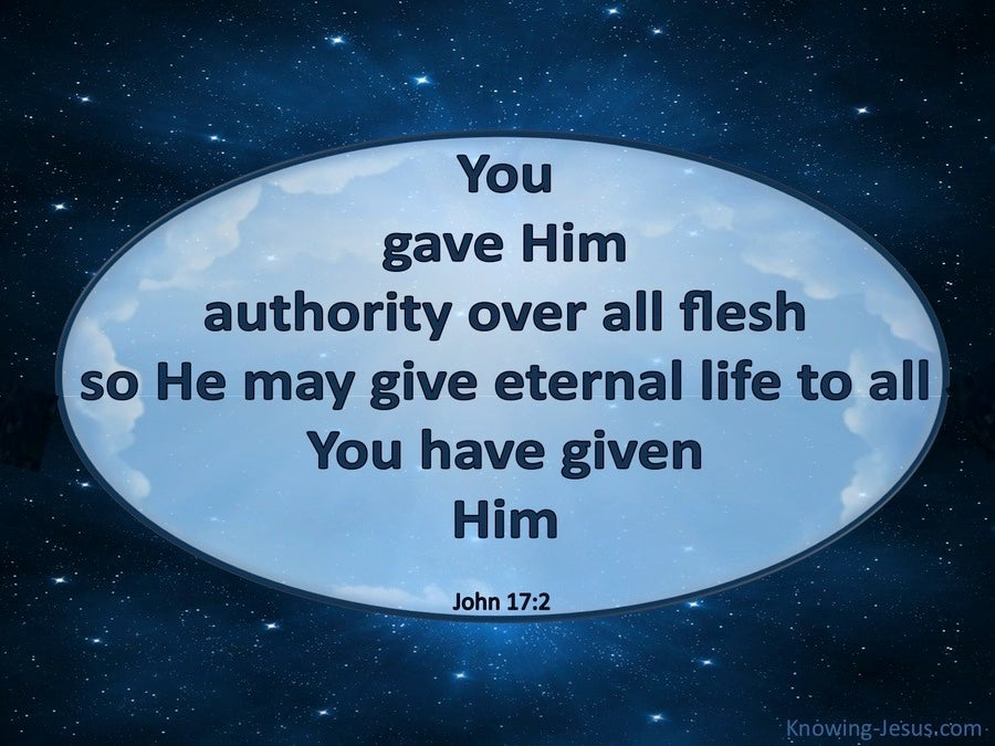 John 17:2 You Gave Him Authority Over All Flesh (blue)