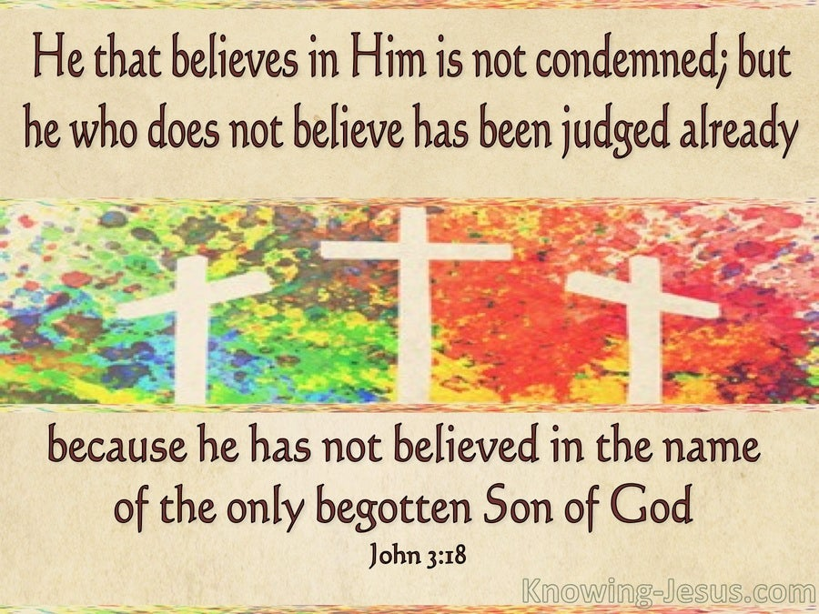 John 3:18 He That Believes Is Not Condemned (beige)
