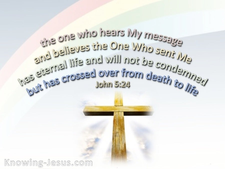 John 5:24 Crossed From Death To Life (white)
