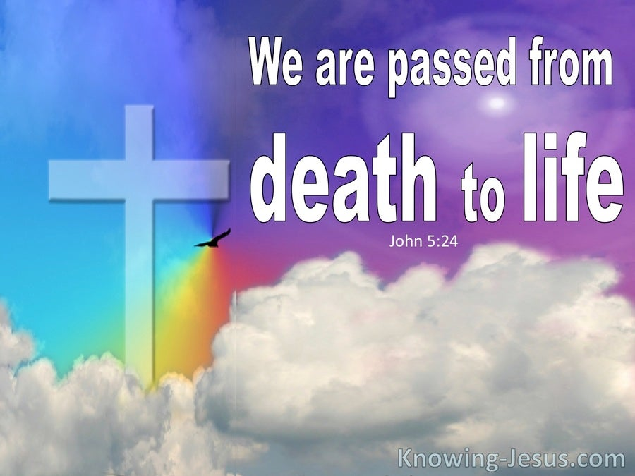 John 5:24 We Have Passed From Death To Life (purple)