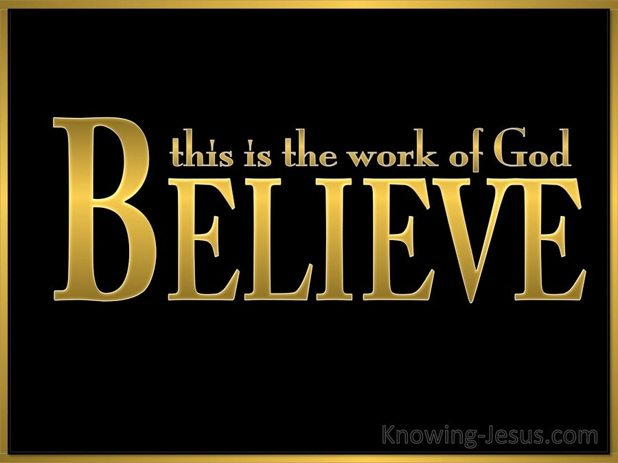 John 6:29 Believe In Him Whom He Has Sent (black)