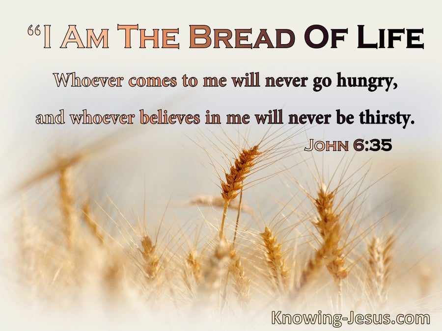 John 6:35 I Am The Bread Of Life Whoever Comes To Me Will Never Hinger Or Thirst (beige)