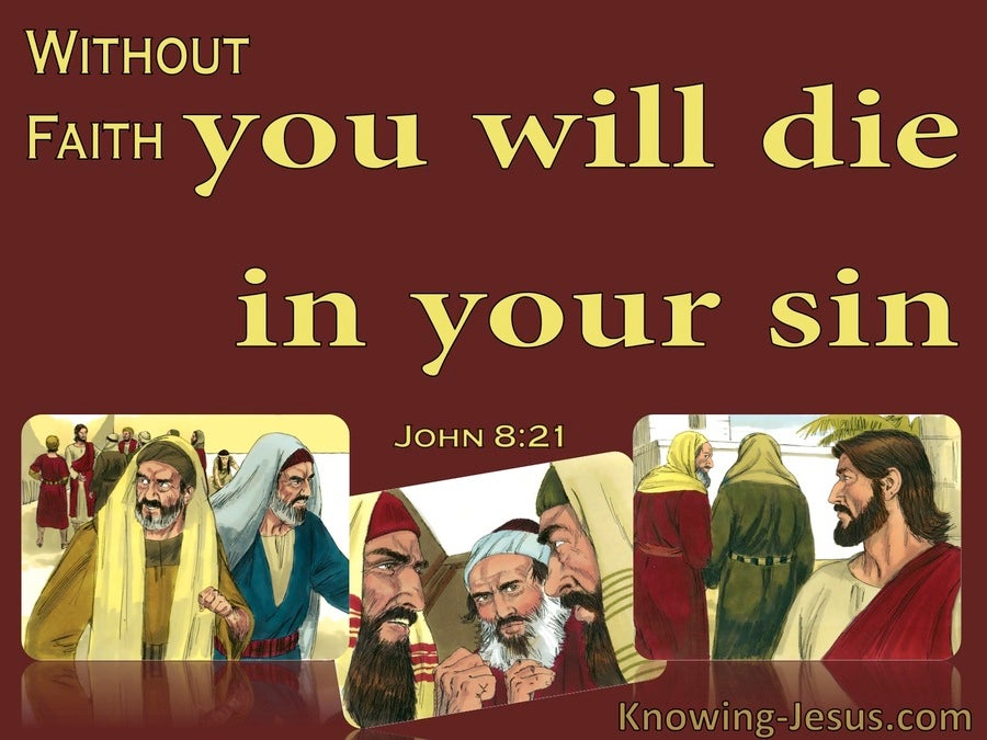 John 8:21 You Will Die In Your Sin (red)