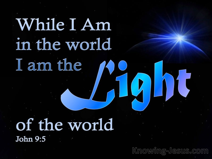 John 9:5 While In The World I Am The Light (blue)