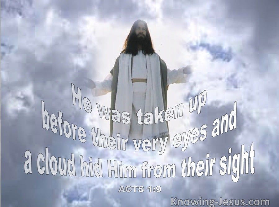 Acts 1:9 He Ascended Before Their Eyes (blue)