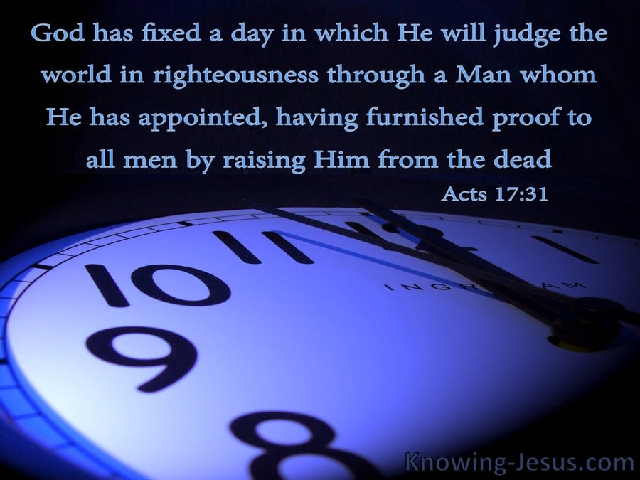 Acts 17:31 Christ Will Judge The World In Righteousness (blue)