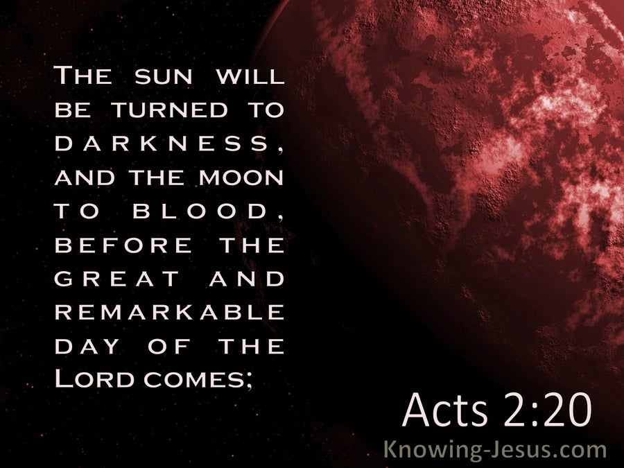 Acts 2:20 The Sun Will Be Turned To Darkness And The Moon To Blood (black)