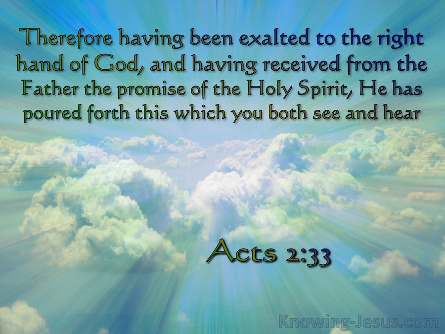 Acts 2:33 Exaulted To The Right Hand Of God (blue)