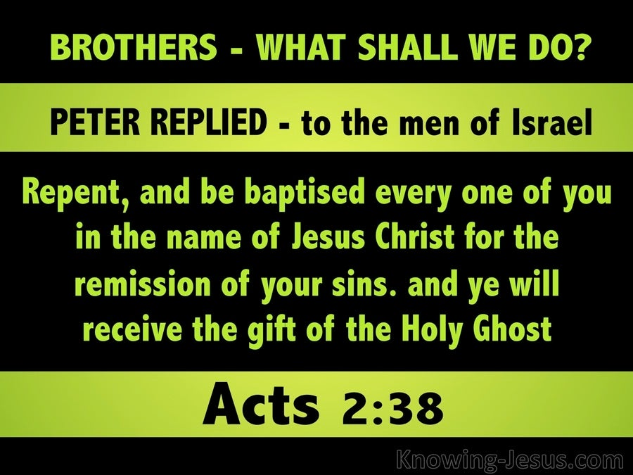 Acts 2:38 Repent And Be Baptised (green)