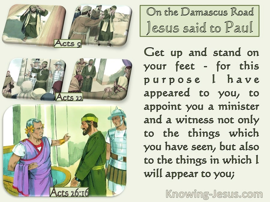 Acts 26:16 For This Purpose I Appointed You A Minister And Witness (green)