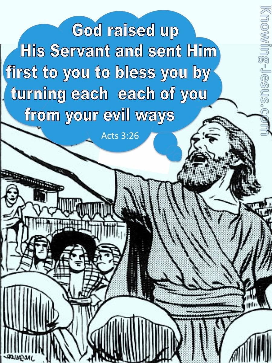 Acts 3:26 God Raised Up His Servant Jesus (blue)