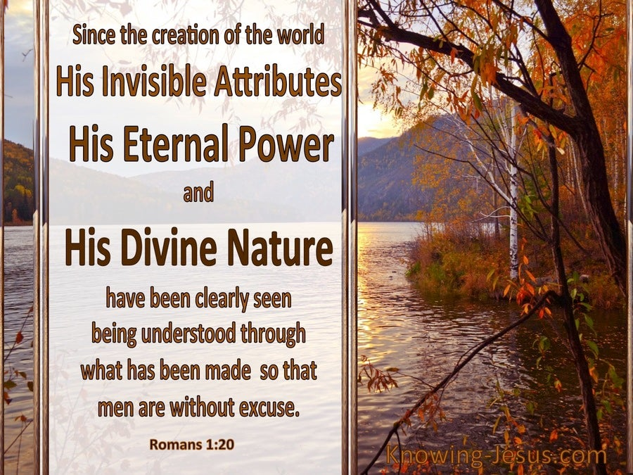 Romans 1:20 His Invisible Attributes And Eternal Power (brown)