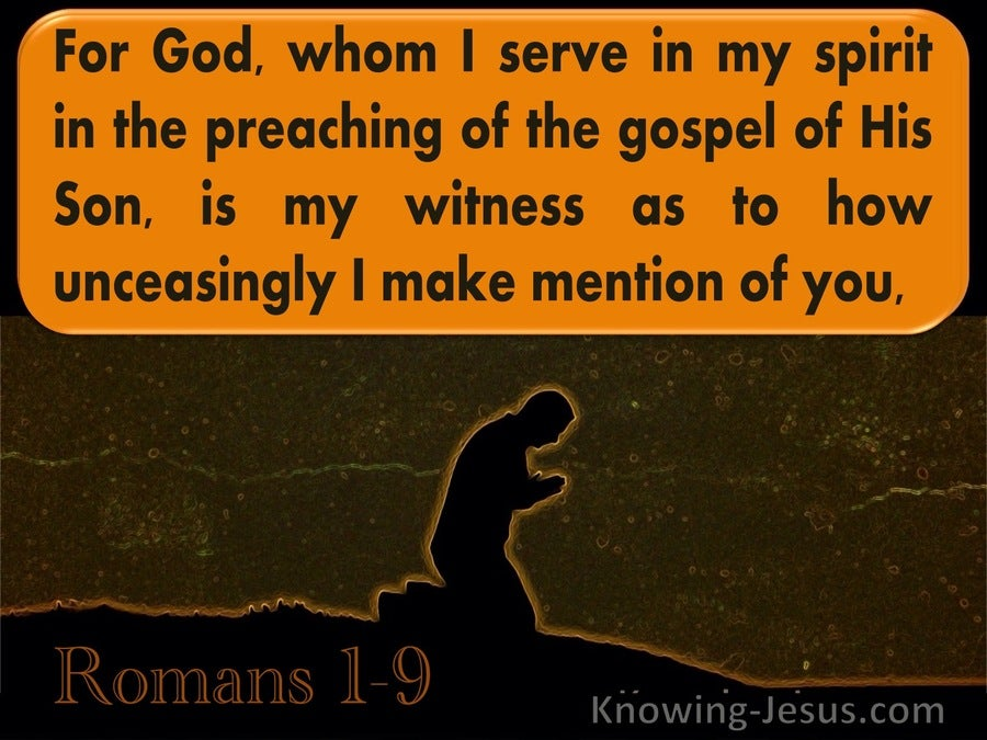 Romans 1:9 For God Whom I Serve Is Is My Witness (orange)