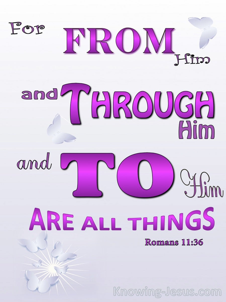 Romans 11:36 For, Through, To Him Are All Things (pink)