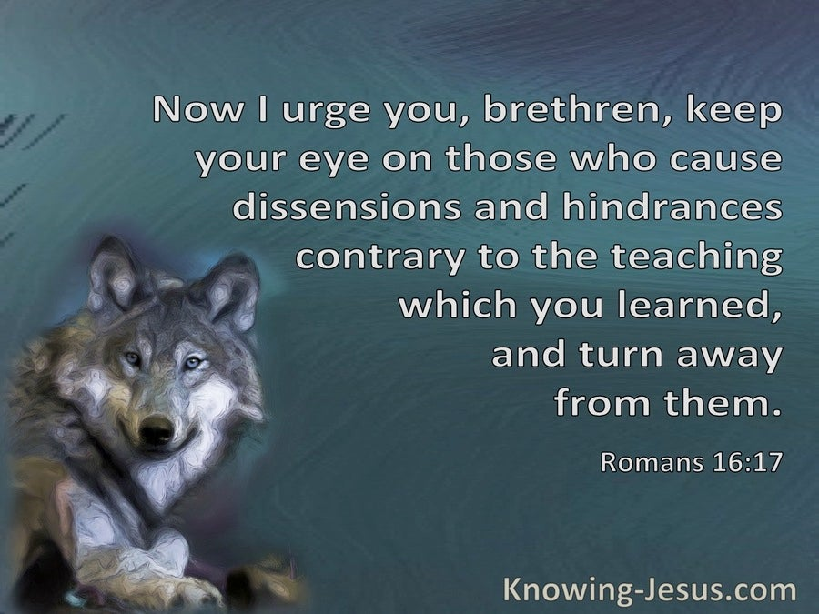 Romans 16:17 Keep An Eye On Those Who Cause Dissensions (gray)
