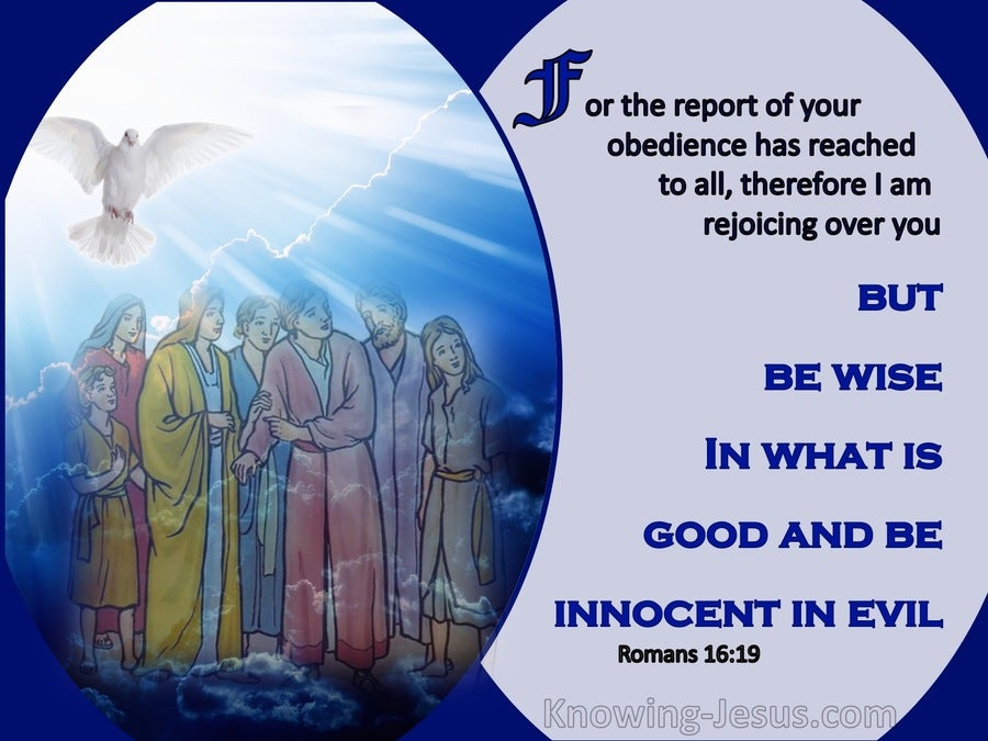 Romans 16:19 Be Wise In What Is Good (blue)