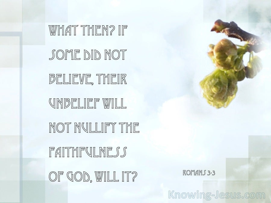 Romans 3:3 Unbelief Will Not Nullify Gods Faithfulness (sage) copy