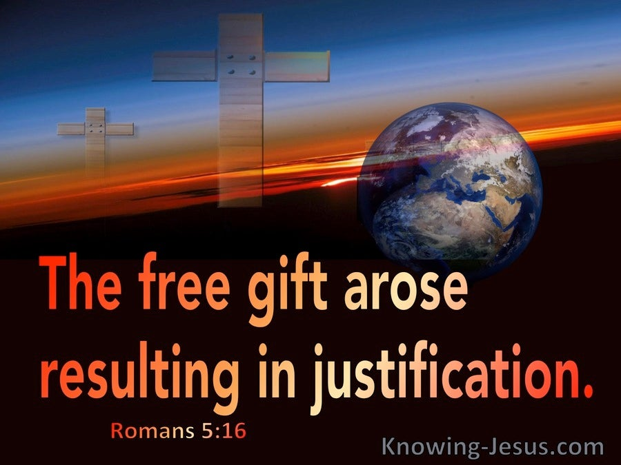 Romans 5:16  The Free Gift Resulting In Justification (red)