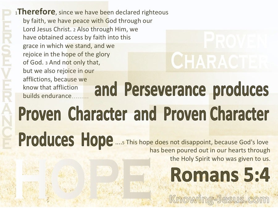 Romans 5:4  Perseverance Produces Character Which Produces Hope (brown)