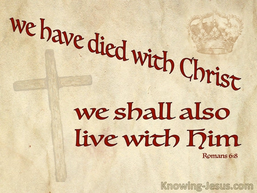 Romans 6:8 We Died With Christ And Shall Live With Him (beige)