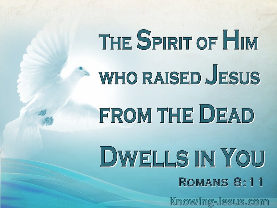 Romans 8:11 He Who Raised Christ Dwells In You (aqua)