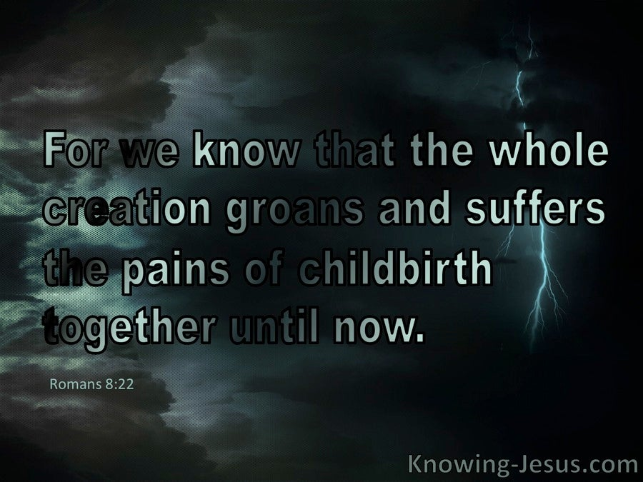 Romans 8:22 The Whole Creation Groans and Suffers (black)