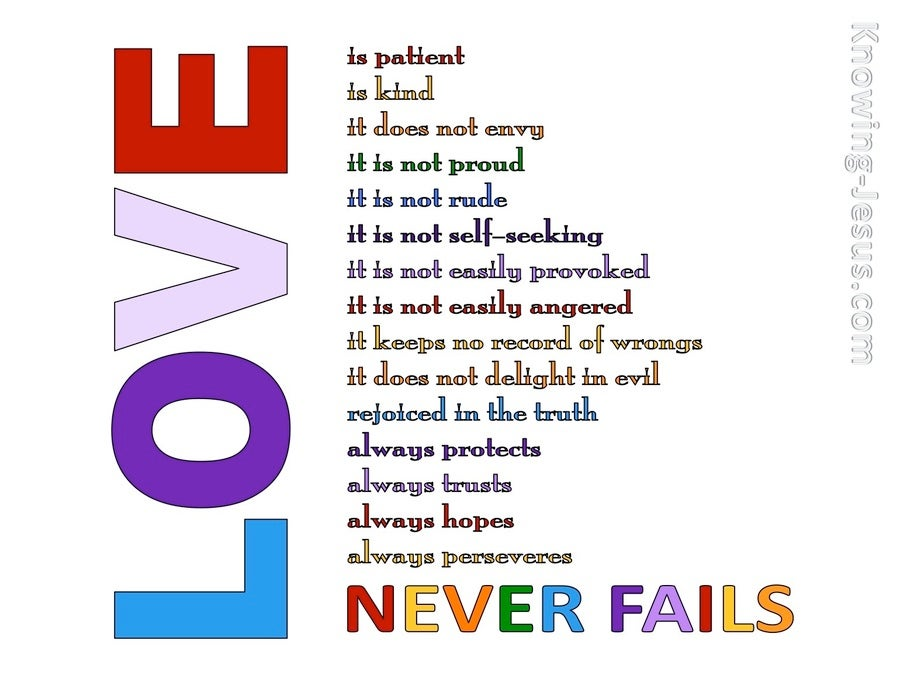 1 Corinthians 13:8 Love Never Fails (white)