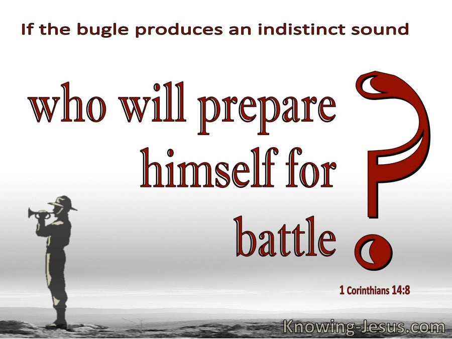 1 Corinthians 14:8 Who Will Prepare For Battle (red)