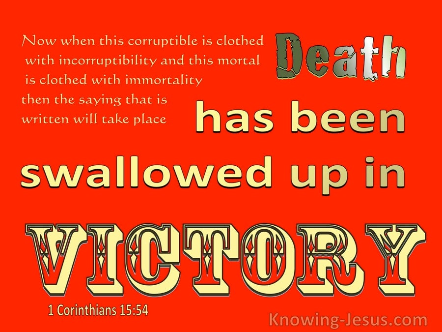 1 Corinthians 15:54 Death Is Swallowed Up In Victory (yellow)