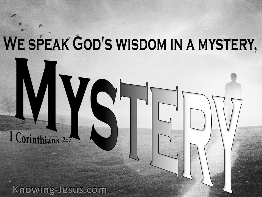 1 Corinthians 2:7 We Speak God's Wisdom In A Mystery (gray)