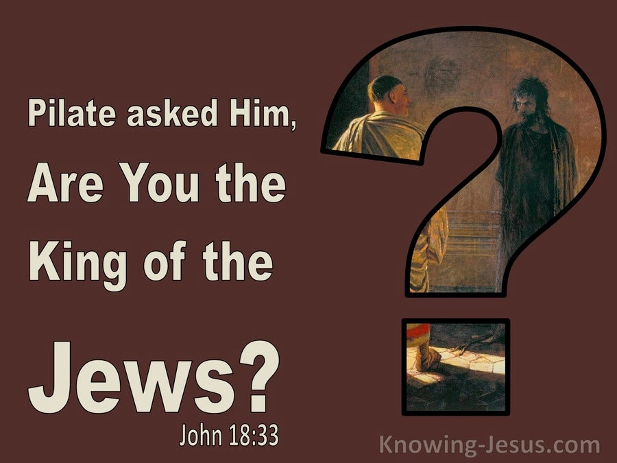 John 18:33 Pilate Asked Him Are You The King Of The Jews (brown)