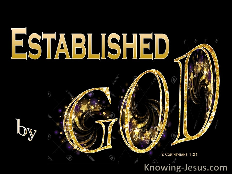 2 Corinthians 1:21 Established in Christ By God (gold)