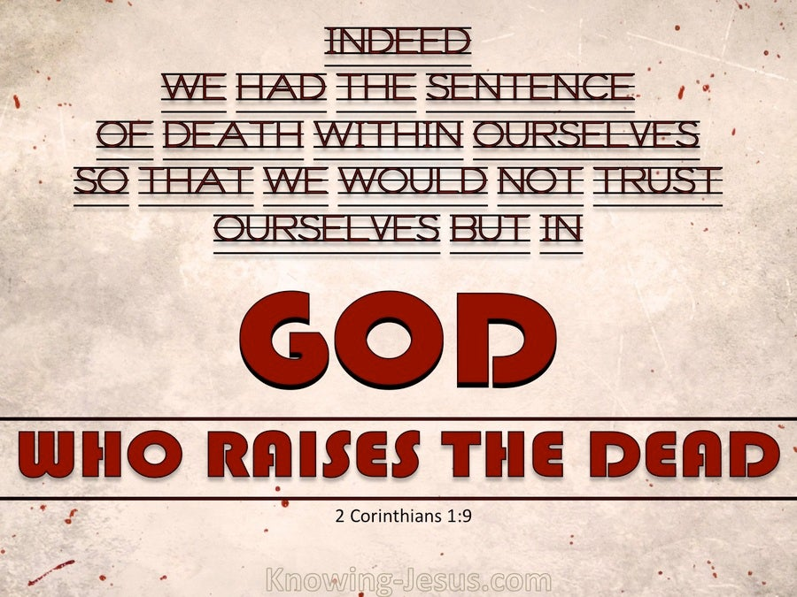 2 Corinthians 1:9 God Who Raises The Dead (red)