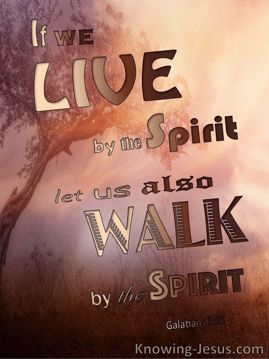 Galatians 5:25 Live And Walk By The Spirit (brown)