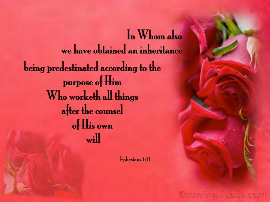 Ephesians 1:11 In Whom We Gained An Inheritance (red)