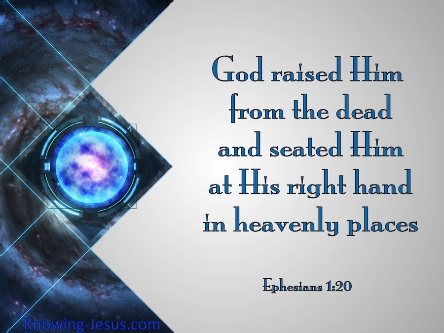 Ephesians 1:20 God Raised Him From The Dead (blue)