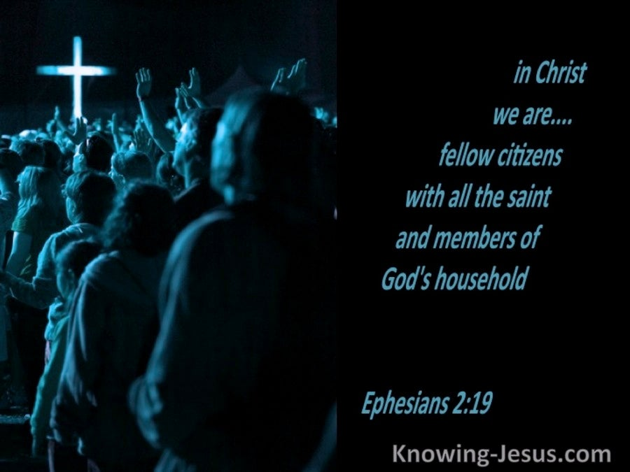 Ephesians 2:19 Saints And Members Of God's Household (blue)