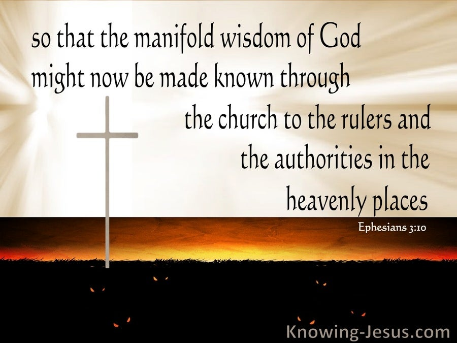 Picture Quote On Ephesianns 210 Niv: Ephesians 3:10 The Manifold Wisdom Of God (beige