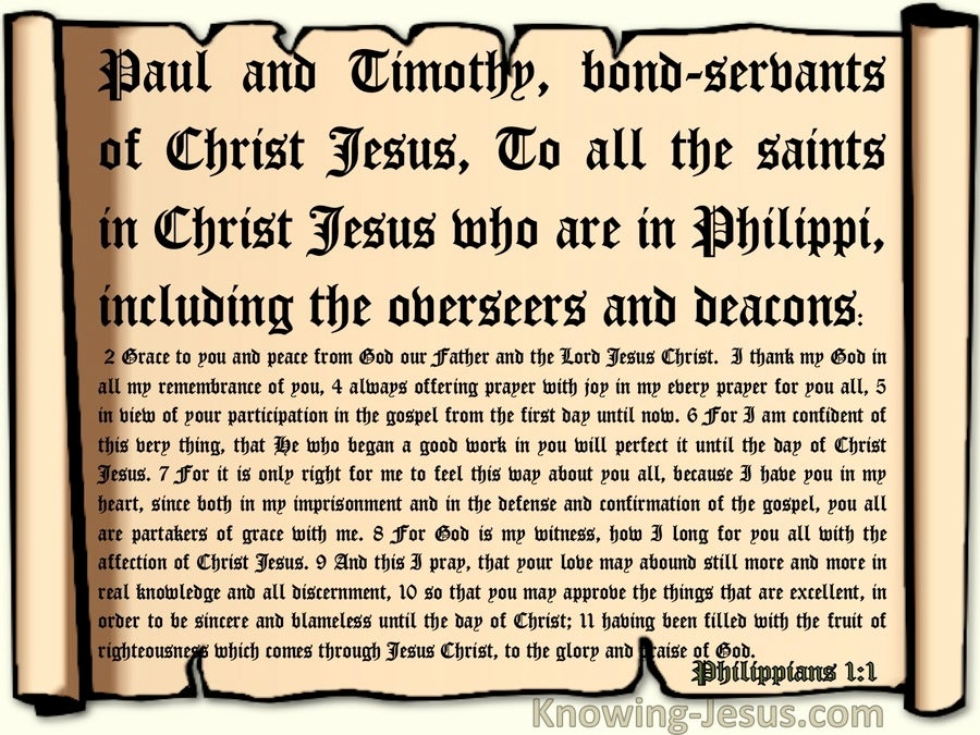 Philippians 1:1 Paul And Timothy Bondservants Of Christs To The Saints At Philippi (beige)