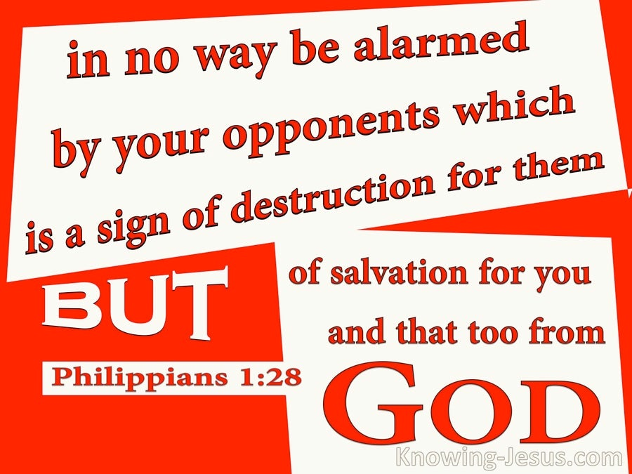 Philippians 1:28 Do Not Be Alarmed By Your Opponents (red)